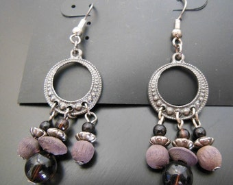 Vintage Finishing Touches Silver Tone Purple Wood Bead Dangle Earrings Jewelry