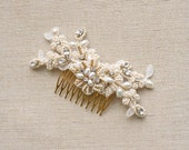 Bridal Hair Comb Lace Hair Accessories Wedding Hair Comb Lace Hair Comb Bridal Hair Piece Beaded Lace Comb Wedding Headpiece Gold Ivory