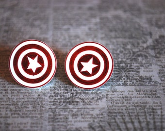 Captain America Earrings -- Captain America Studs, Red and White Captain America