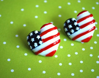 Heart Studs -- 4th of July Earrings, Heart Earrings, Red, White and Blue Hearts
