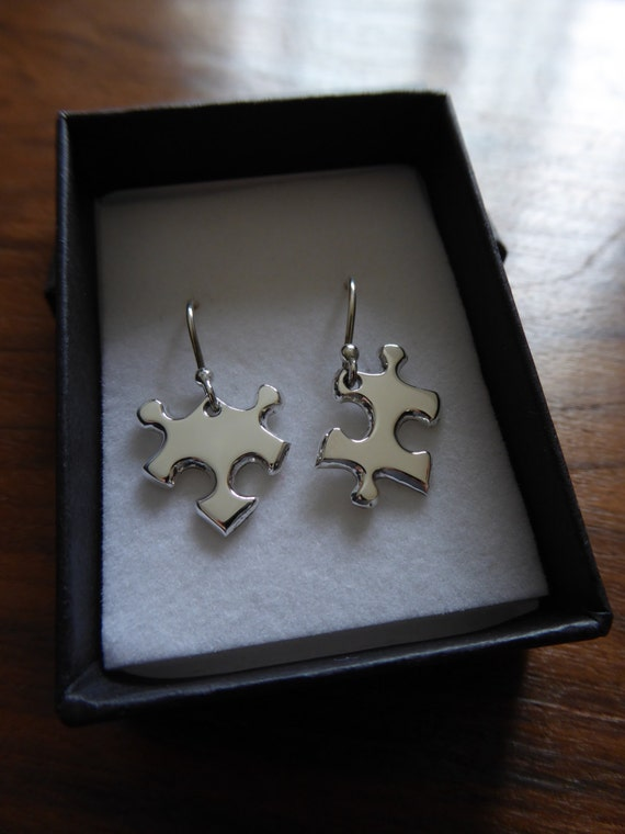 Silver Puzzle Charms, Dangly Earrings