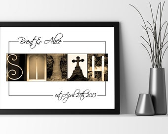 Personalized Wedding or Anniversary Gift - Framed Custom Print - Letter Art & Alphabet Photos - Free Proof - Rush Shipping Available - Sale