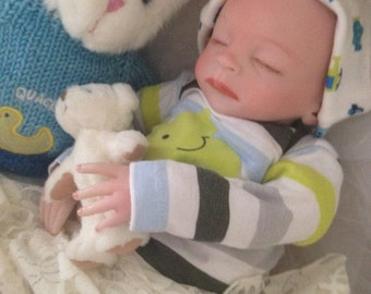 Reborn Baby Nelson Completed from the Faith 18 inch Kit with Painted Hair