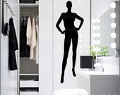 Female Mannequin, Wall Decal, Dress Form, Fashion Decor, Life-like Mannequin Sticker, Teen Girl Room Wall, Posing Manikin HD-104