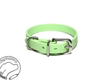"Mint Pastel Green Little Dog Collar - 1/2"" (12mm) Thin Biothane Dog Collars - Waterproof Small Dog Collar"