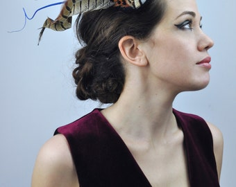 Navy Blue Velvet and Feather Fascinator With Gold and Copper Natural Pheasant Feathers