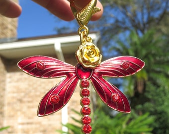 RUBY DRAGONFLY CLIP, Red, Purse Clip, Bag Clip, Purse Jewelry
