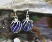 caged cobalt blue and white Maine sea glass earrings, sea glass earrings, sea glass earrings, Atlantic Maine Sea Glass,  Sea Glass Earrings