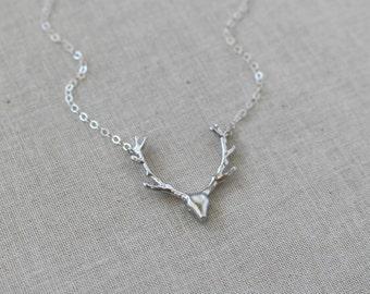 Silver Deer Antler Necklace, Silver Antler Necklace, Deer Charm Necklace, Layering Necklace, Gift For Her, Deer Necklace