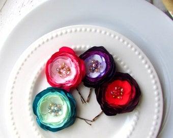 "CHOOSE 1 Ombre Flower Girl Hair Accessories, 2"" Silk Flower Hair Clip, Satin Flower Hair Piece, Gold Beaded Hair Flower, Crystal Tiny Pearls"