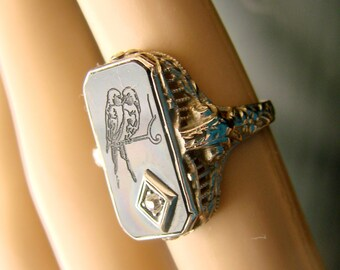 Art Deco 10K White Gold Repousse Diamond Black Onyx Ring / Carved Love Birds /  2.8 Grams / Antique Jewelry / Jewellery