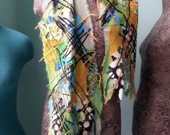 """Chiffon handmade scarf """"Mosaic"""" with geometric patterns"""
