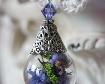 MORNING GLORY Victorian Cloche Dried Flower Necklace and Matching Earrings Set, Ready To Ship