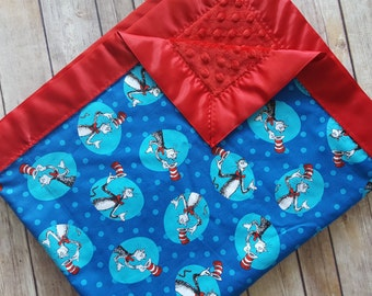 Dr. Seuss minky blanket, the cat in the hat blanket, Dr. Seuss baby blanket, Dr seuss nursery, Cat in the hat nursery