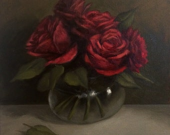 Original Oil Painting Red Roses in Vase