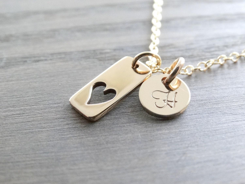 personalized wedding gift mother 39 s necklace 14k gold heart. Black Bedroom Furniture Sets. Home Design Ideas