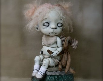 Giclee Fine Art Print. Dark Alley BJD Art Doll with a Teddy Elephant.