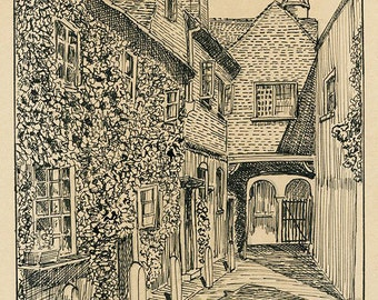 Farnham, Original Pen and Ink Drawing of An Alley Way in Farnham, Surrey, 1930's Signed Pen and Ink on Board.