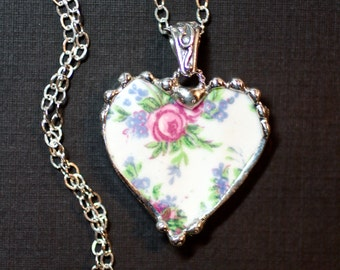 Necklace, Broken China Jewelry, Broken China Necklace, Heart Pendant, Pink Rose and Blue Floral China, Sterling Silver, Soldered Jewelry