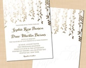 Gold Foil-Inspired Leafy Vines Wedding Invitation (5x7, Portrait): Text-Editable in Microsoft® Word, Printable Instant Download