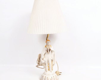 Vintage Victorian Table Lamp With Shade White Porcelain Gold Trim Top Hat Figural Lamp Period Clothed Man