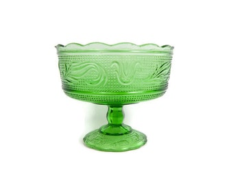 Vintage E O Brody Green Glass Compote Candy Dish Footed Bowl Pedestal Dish Made in USA