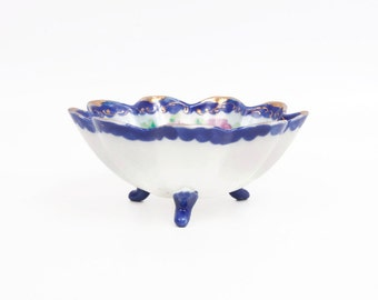 Antique Flow Blue Bowl 3 Footed Candy Dish Oriental Nut Bowl Cobalt Blue Pink Floral Hand Painted Japan Fluted Edges Trinket Holder