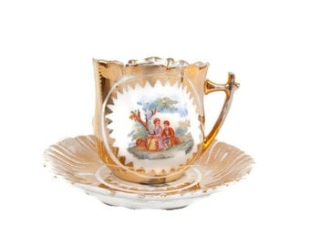 Antique German Teacup Saucer Courting Couple 24k Gold Leaf Gold Tea Cup French Lovers Victorian Couple