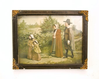 1901 Thanksgiving Photographic Print THE LORD'S DAY with Pilgrims by J.I. Austen, Chicago in Original Antique Vintage Victorian Wood Frame