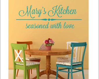 Seasoned With Love Etsy - Custom vinyl wall decals for kitchen