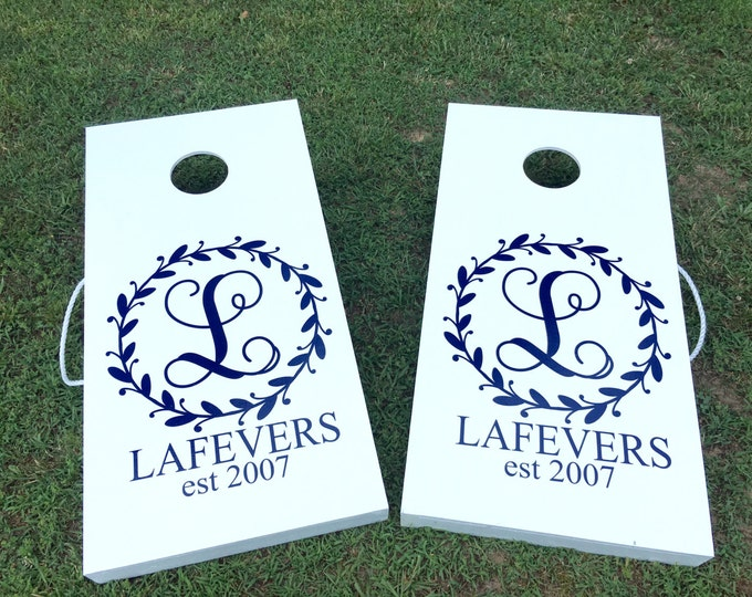 Cornhole Board Decal Monogram Decals for Cornhole Game Boards Wedding Decals DIY Rustic Twig Decals Wedding Cornhole Decal Set of Two