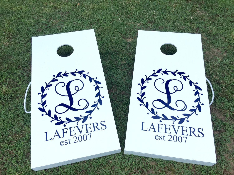 Cornhole Board Decal Monogram Decals For Cornhole Game Boards Wedding