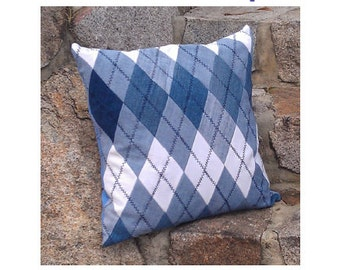 Upcycled  Denim Argyle Pillow Cover - PDF pattern
