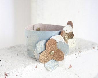 Artisan Leather Jewelry | Chic Bracelet | Floral Leather Cuff | Painted Leather Bracelet | Leather cuff Bracelet for women | Blue gold