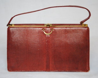 Classic vintage Fassbender handbag in red brown reptile lizardskin effect leather
