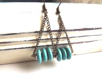 Turquoise Howlite Earrings, Tribal earrings, Dangle Earrings, Ethnic , Handmade Bead Earrings,