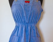 70s Vintage Chambray Overall Tunic with Cherry Detail