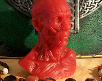 Titan Bust Red Beeswax Candle Anime Titan Style