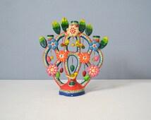 Vintage Mexican Ceramic Tree of Life Candelabra Castillo Family Puebla Attributed