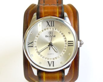 Leather Watch Womens, Vintage Women's Watch, Leather Bracelet Watch, Brown Leather Womens Watch