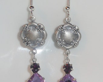 Lavender/ Light Purple Dark Purple Two Tone Pear Tear Drop DANGLE Crystal Rhinestone Pierced EARRINGS