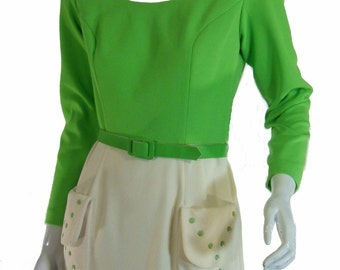 60s/70s Lime Green and White Maxi - sm