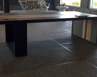 Concrete Wood & Steel Coffee Table
