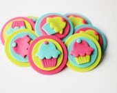Fondant Cupcake Toppers - Cupcake-themed fondant topper - First Birthday - Cupcake Invitation - Cupcake Party - Cupcake Cake - Sweet Cupcake