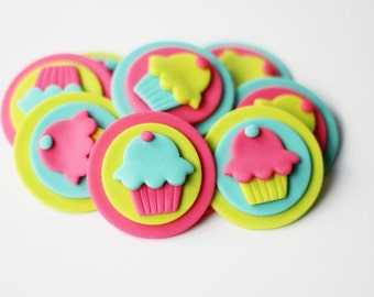 Fondant Cupcake Toppers - Cupcake-themed fondant topper - First Birthday - Cupcake Invitation - Cupcake Party - Cupcake Cake - Sweet Cupcake