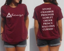 Always Harry potter shirt back and front deathly hallows book titles the Cursed child stone chamber prisoner goblet nerd t shirt teens