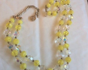 Yellow Lucite, Crystal Glass, Designed by LISNER, Vintage Jewelry, Art Deco Revival WINTER SALE