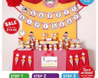 Special Price - Sock Monkey Birthday Party Package Personalized FULL Collection Set  - PRINTABLE DIY - PS819CA1x