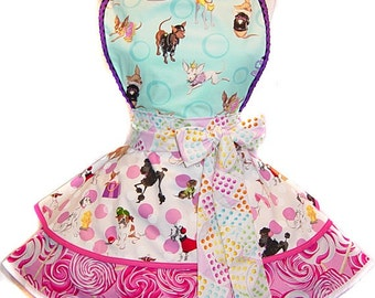Ready To Ship ! Sweet Chihuahua & Candy Retro-Influenced Diner, Pinup Style  Apron