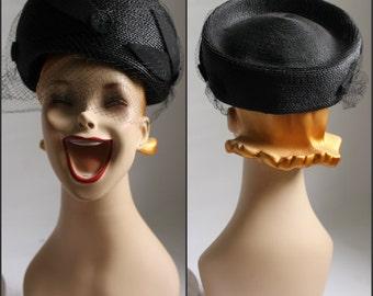Vintage, Black, Woven HAT, mid century, large